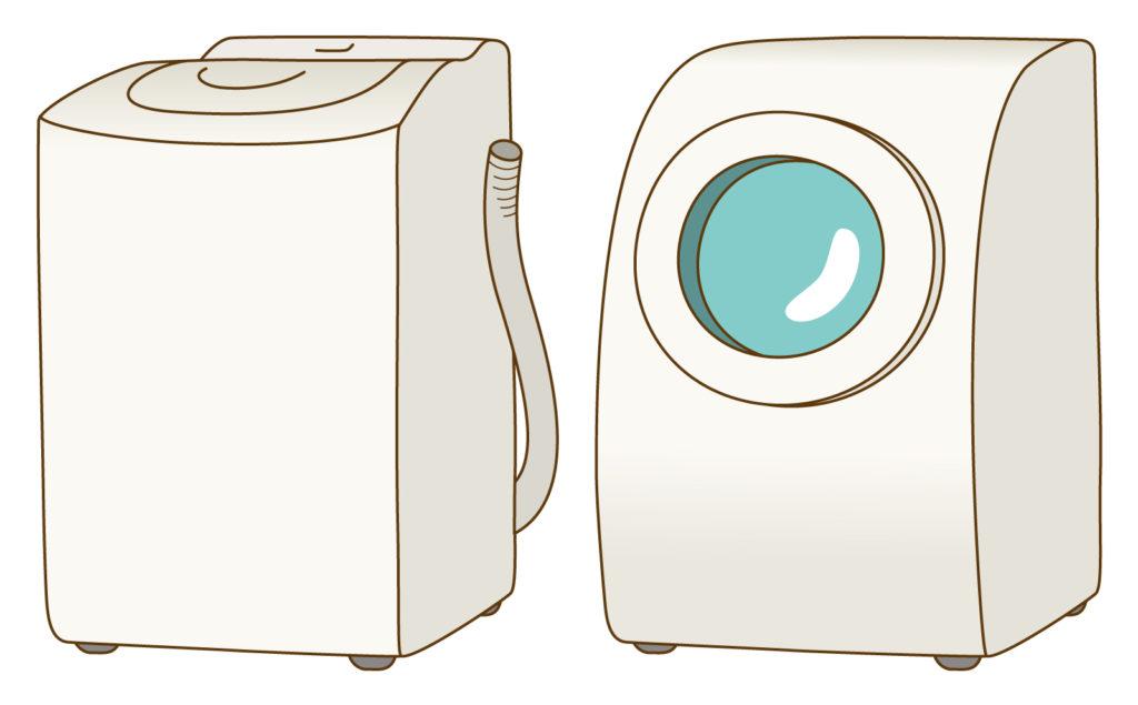 縦型とドラム式洗濯機のイラスト