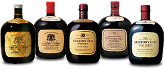 歴代のサントリーオールドボトル 5種類のラベルデザインがあるが象徴的なだるま瓶の形は同じ