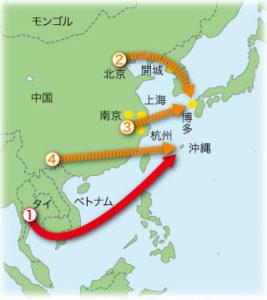 焼酎の伝播ルート図