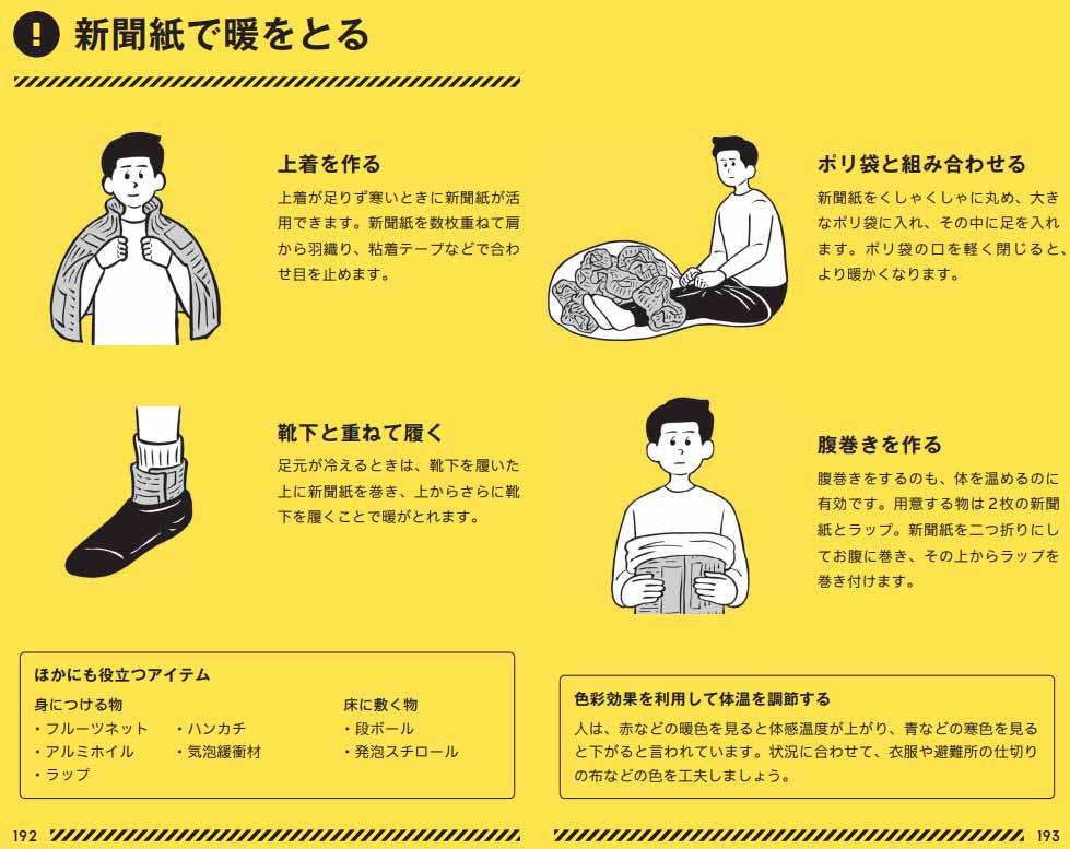 新聞紙で暖をとる方法、東京防災より
